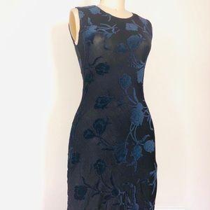 Black jersey dress with Blue velvet floral